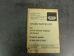 Hatz Diesel Engines Aircooled Engine Types E108 And Z108 Spare Parts List