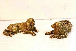 Pair Of Antique Solid Cast Brass Dog Figurines 5.5 Long