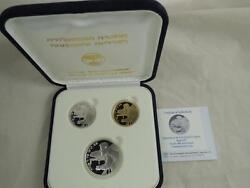 1997 Independence Day Coin 100 Years Of Zionism /herzl 0.5oz Gold And 2 Silver Set
