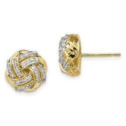 10k Yellow Gold Genuine Diamond Pave Love Knot Cable Design Post Earrings Gift