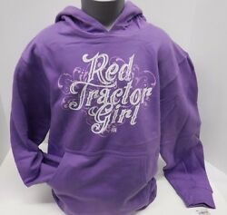 Red Tractor Girl Youth Lavender Hoodie Size S, M, L Or Xl
