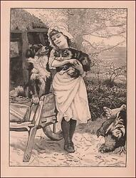 GIRLS CAT & DOG LOVE HER AND ARE BEST FRIENDS antique engraving original 1886