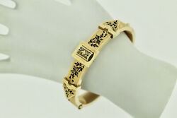 14k Yellow Gold Antique Buckle Style Hinged Bangle Bracelet With Enamel 6.0l