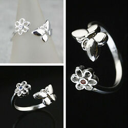 925 Solid Sterling Silver Plated Women Fashion zircon Ring Gift SIZE Open HR445