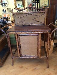 Antique Victorian Scorched Bamboo Chest/bar Lined With Embossed Leather
