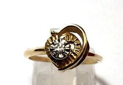Vintage 14k Yellow Gold Diamond Heart Promise Ring Love Sz 7 Valentines Day