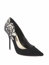 Sophia Webster Winona Floral-embroidered Suede Point-toe Pump Shoes 39.5 640.00