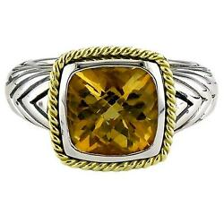 Andrea Candela 18k Gold And Sterling Silver Citrine Cushion 10mm Ring Acr85-ci