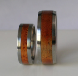 Exotic Koa Wood Wedding Bands Pure Tungsten And Titanium His Hers Rings Sizes 4-17