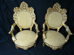 Pair Antique Gold Throne French Louis XVI Style Carved Gilt High Back Armchairs