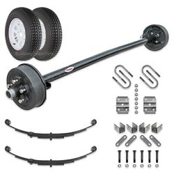 3500 Lb Electric Brake Trailer Axle Kit W/wheels And Tires 73 Hf - 58 Sc 545