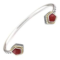 Andrea Candela 18k Yellow Gold And Sterling Red Agate Cable Bangle Acb305-ra