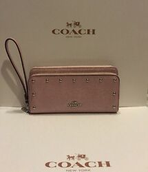 NEW Leather COACH Double Accordion Zip Wallet Wristlet Clutch F53146 Light Pink