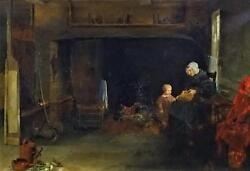 Antique Oil On Canvas Of A Dutch Interior