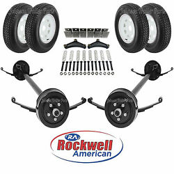 Tandem 3500 Lb Electric Brake Trailer Axle Kit W/wheels And Tires - 7k - 85/70