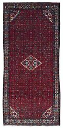 Semi-Antique Beige and Red Persian Hamadan Oriental Runner 5'X11'