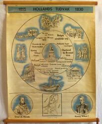 Vintage Roll School History Holland Years 1815-1830 Antique Poster 65x86cm