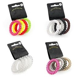 Set of 4 Coil Twist Style Telephone Cord Hair Elastics Bobbles Ponios Bands