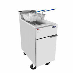 New 40lb Deep Fryer Natural Gas Heavy Duty Burners Stainless Atosa Atfs-40 2552