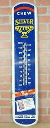 Old Silver Cup Tobacco Advertising Thermometer Large Sign Made In Usa Tin Metal