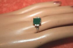 Vintage Marked 925 And Picture Logo Emerald And Crystal Ring Size 10
