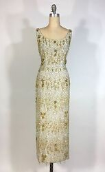 Vintage Late 1950and039s Silver And Gold Heavily Beaded Samuel Winston By Roxane Gown