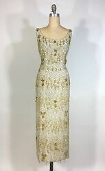 Vintage Late 1950's Silver And Gold Heavily Beaded Samuel Winston By Roxane Gown