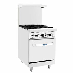 New 4 Open Burner 24 Range And Std Gas Oven Atosa Agr-4b 6035 Commercial Stove