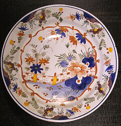 Old Plate Delft Dutch 19th Fayence Painted Wall West Friesland Teller Pottery