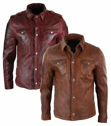 Mens Tan Timber Washed Slim Fit Shirt Jacket Retro Smart Casual Genuine Leather