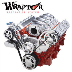 Polished Chevy Ls Serpentine Kit For Ac And Alternator - Ls1 Ls2 Ls3 And Ls6