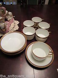 Limoges France Fine China, Cobalt And Gold, 6 Coffee Cups And Saucers 12 Pcs[1st