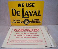 Orig Old Delaval Farm Feed Seed Store Tin Metal Advertising Sign W Envelope Nos