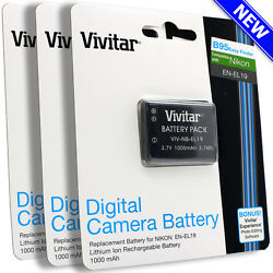 3 pcs Vivitar EN-EL19 Battery for Nikon Coolpix S33 S2900 S3700 S7000