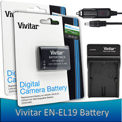 2 pcs. Vivitar EN-EL19 Battery + Charger for Nikon Coolpix S33 S2900 S3700 S7000