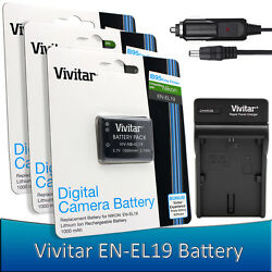 3 pcs. Vivitar EN-EL19 Battery + Charger for Nikon Coolpix S33 S2900 S3700 S700