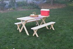 Pressure Treated Pine Cross Leg Picnic Table With Detached Benches -456or 8ft
