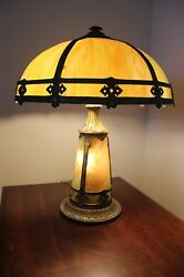 Slag Lamp With Lighted Base - Very Rare And Beautiful Colors