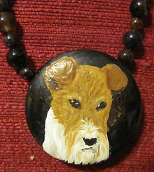Wire Fox Terrier hand painted on round Onyx Agate pendnantbeadnecklace