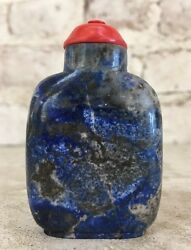 19th C. Qing Dynasty Chinese Lapis Snuff Bottle W/ Coral Lid