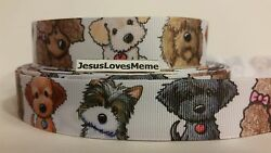 Grosgrain Ribbon Puppies Puppy Dogs Poodle Terriers Sheepdog Mixed Breeds 1