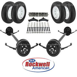 Tandem 3500 Lb Electric Brake Trailer Axle Kit W/wheels And Tires - 7k - 84/70