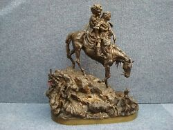 Russian bronze by Gratchev Man and lover on horse ride signed foundry date