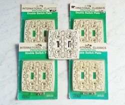 4 Vintage International Antique White Provincial Double Light Switch Plate Cover