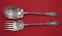 Number 10 By Dominick And Haff Sterling Silver Salad Serving Set 2pc Gw W/ Flowers