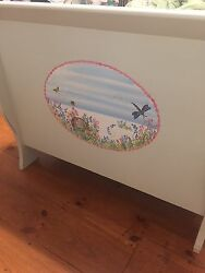 Girls Bedroom Set- Hand Painted, 2 Twin Sleigh Beds, Mirror, Bureau, And Table