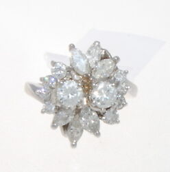 Vintage Platinum And Diamond Cluster Ring 1.80 Cts.