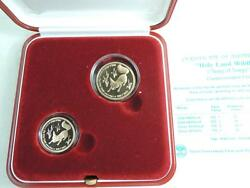 1995 Israel Holy Land Wildlife Fox And Vineyard 2 Proof Gold Coins 0.35 Oz.