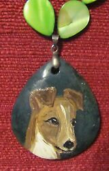 Smooth Fox Terrier hand painted on a green teardrop pendantbeadnecklace