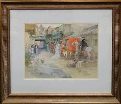 Gilbert S. Wright The Departure Watercolor - Listed Artist